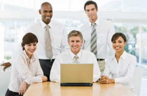 Closeup of happy businesspeople